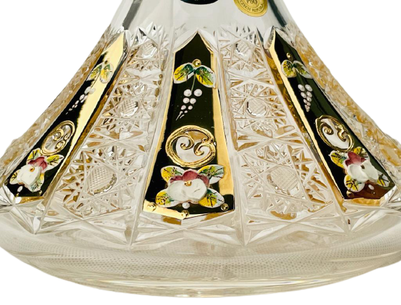 Gold-plated cut crystal bottle - Height 31cm/1000ml