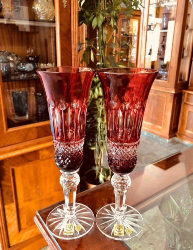 Color-cut crystal champagne glasses - set of 2pcs - Height 24cm/155ml