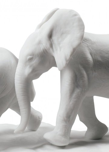 Following The Path Elephants Sculpture. White