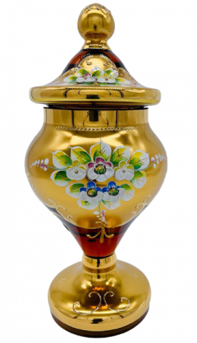 Box decorated with high enamel - Height 25cm