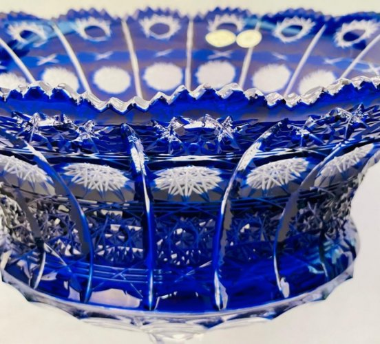 Color-cut crystal footed bowl - Height 24cm
