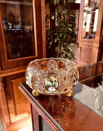 Gold-plated cut crystal bowl - Height 8cm