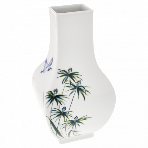 Grasses with blue ibis VASE, LARGE