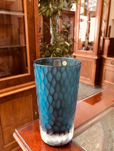 Color-cut crystal vase - Height 16cm