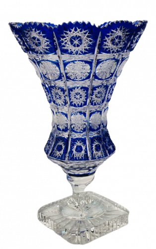 Color-cut crystal vase - Height 34cm