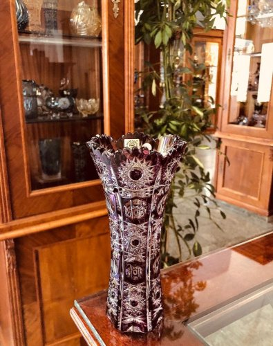 Color-cut crystal vase - Height 18cm