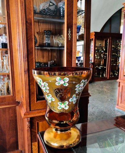 Vase decorated with high enamel - Height 25cm