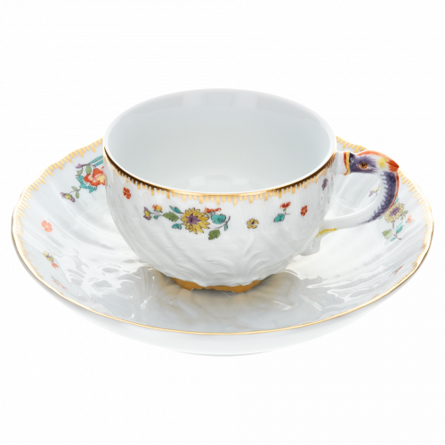 Swan service indian flower branch - Coffee cup with saucer