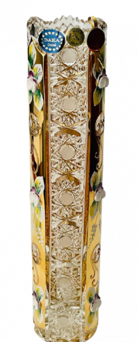 Gold-plated cut crystal vase - Height 25cm