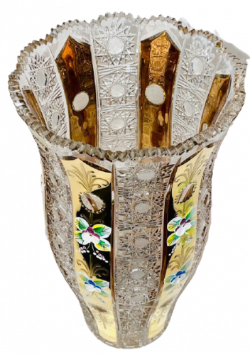 Gold-plated cut crystal vase - Height 30cm