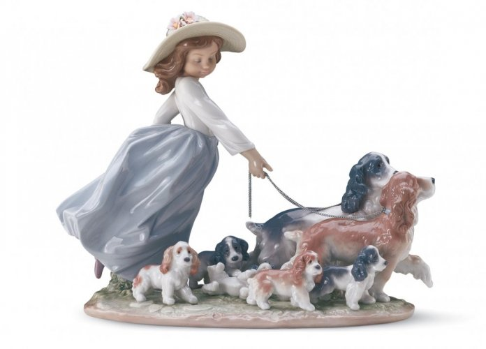 Puppy Parade Girl with Dogs Figurine