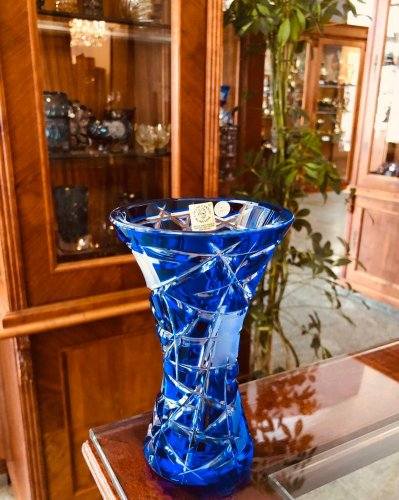Color-cut crystal vase - Height 15cm
